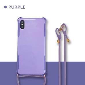 Kleurrijke Candy schokbestendig huisdier terug cover + TPU frame telefoon beschermende case met Lanyard nek riem touw (verstelbare lengte: 113CM) voor Huawei P30 (paars)