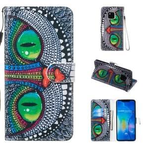 Lederen beschermhoes voor Huawei mate 20 Pro (groene ogen)