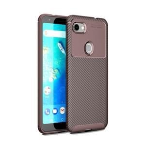 Koolstofvezel textuur schokbestendig TPU Case voor Google pixel 3a XL (bruin)