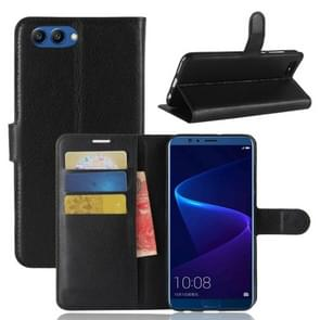 Voor Huawei Honor weergave 10 Litchi textuur horizontale Flip lederen draagtas met houder & kaartsleuven & Wallet(Black)