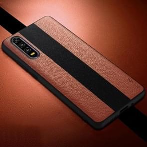 SULADA anti-slip TPU + handgemaakte lederen draagtas voor Huawei P30 (bruin)