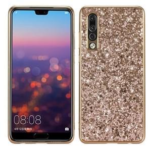 Glitter poeder schokbestendig TPU Case voor Huawei P30 (goud)