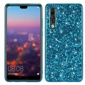 Glitter poeder schokbestendig TPU Case voor Huawei P30 (blauw)