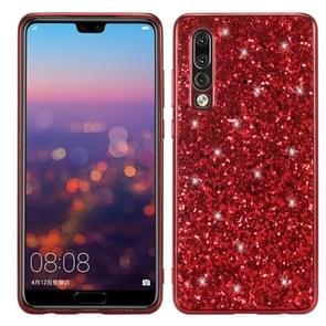 Glitter poeder schokbestendig TPU Case voor Huawei P30 (rood)
