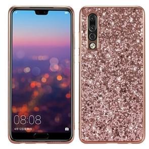Glitter poeder schokbestendig TPU Case voor Huawei P30 (Rose goud)