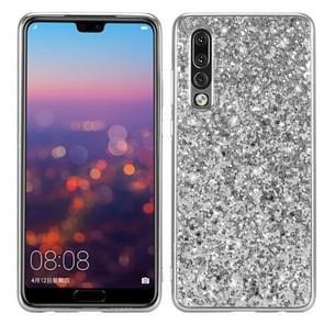Glitter poeder schokbestendig TPU Case voor Huawei P30 (zilver)
