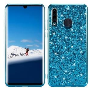 Glitter poeder schokbestendig TPU Case voor Huawei P30 Lite/Nova 4e (blauw)