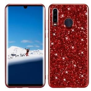 Glitter poeder schokbestendig TPU Case voor Huawei P30 Lite/Nova 4e (rood)