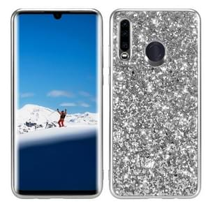 Glitter poeder schokbestendig TPU Case voor Huawei P30 Lite/Nova 4e (zilver)