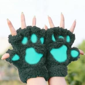 Winter Lovely Cartoon Cat Claw Lady Gloves Thick Warm Fluffy Paws Half Finger Gloves(Army Green)