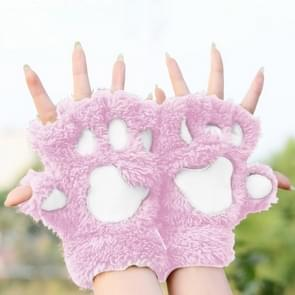 Winter Lovely Cartoon Cat Claw Lady Gloves Thick Warm Fluffy Paws Half Finger Gloves(Pink)