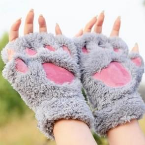 Winter Lovely Cartoon Cat Claw Lady Gloves Thick Warm Fluffy Paws Half Finger Gloves(Grey)