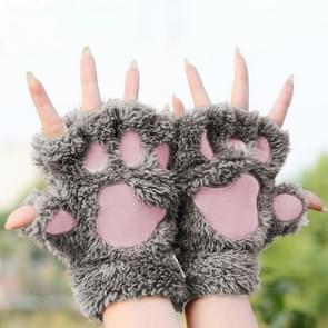 Winter Lovely Cartoon Cat Claw Lady Gloves Thick Warm Fluffy Paws Half Finger Gloves(Khaki)