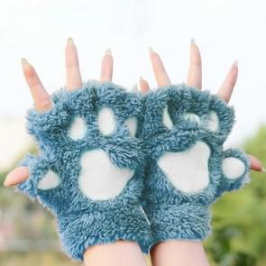 Winter Lovely Cartoon Cat Claw Lady Gloves Thick Warm Fluffy Paws Half Finger Gloves(Blue)