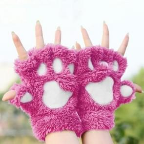 Winter Lovely Cartoon Cat Claw Lady Gloves Thick Warm Fluffy Paws Half Finger Gloves(Magenta)