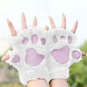 Winter Lovely Cartoon Cat Claw Lady Gloves Thick Warm Fluffy Paws Half Finger Gloves(White)