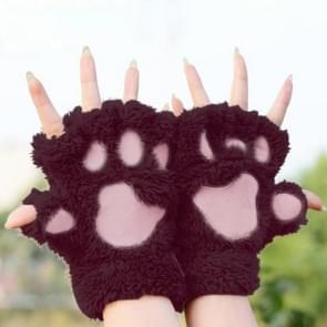 Winter Lovely Cartoon Cat Claw Lady Gloves Thick Warm Fluffy Paws Half Finger Gloves(Wine Red)