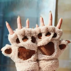 Winter Lovely Cartoon Cat Claw Lady Gloves Thick Warm Fluffy Paws Half Finger Gloves(Apricot)
