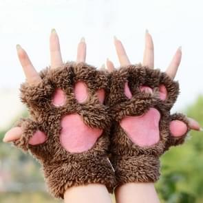 Winter Lovely Cartoon Cat Claw Lady Gloves Thick Warm Fluffy Paws Half Finger Gloves(Brown)