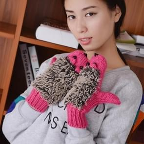 Winter Lovely Cartoon Mouse Knitting Lady Mittens Warm Cartoon Hedgepig Full Finger Gloves(Magenta)