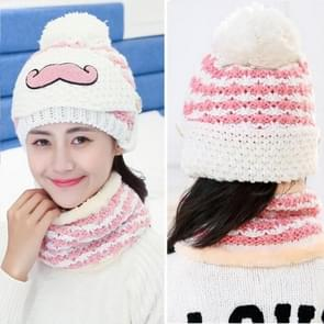 Winter Beard Pattern Mask Face Protection + Scarf + Beanies  Ladies Cashmere Knitted Hat  Adult Style(White)