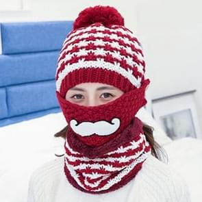 Winter Beard Pattern Mask Face Protection + Scarf + Beanies  Ladies Cashmere Knitted Hat  Adult Style(Wine Red)