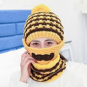Winter Beard Pattern Mask Face Protection + Scarf + Beanies  Ladies Cashmere Knitted Hat  Adult Style(Yellow)