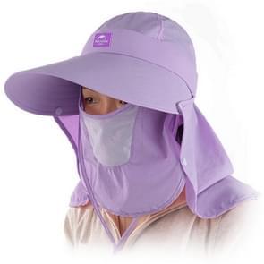 Naturehike Fast Drying Sun Visor Wide Brim Breathable Hat Removable Neck Face Mask Flap Cover Women Cap(Purple)