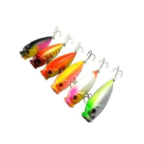 HENGJIA Plastic Artificial Fishing Lures Popper Bionic Fishing Bait with Hooks  Length: 8 cm  Random Color Delivery