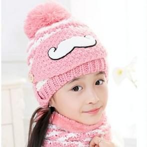 Winter baard patroon bescherming voor het gezicht masker + sjaal + Beanies  dik en pluche Warm Cashmere gebreide muts  kinderen Style(Pink)