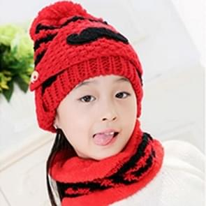 Winter Beard Pattern Mask Face Protection + Scarf + Beanies  Thick and Plush Warm Cashmere Knitted Hat  Children Style(Red)