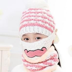 Winter Beard Pattern Mask Face Protection + Scarf + Beanies  Thick and Plush Warm Cashmere Knitted Hat  Children Style(White)