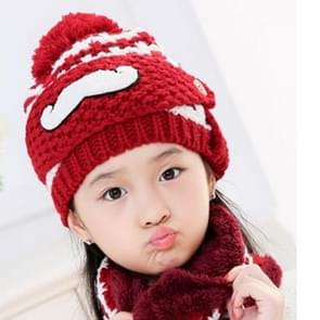 Winter Beard Pattern Mask Face Protection + Scarf + Beanies  Thick and Plush Warm Cashmere Knitted Hat  Children Style(Wine Red)