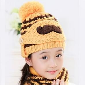 Winter Beard Pattern Mask Face Protection + Scarf + Beanies  Thick and Plush Warm Cashmere Knitted Hat  Children Style(Yellow)
