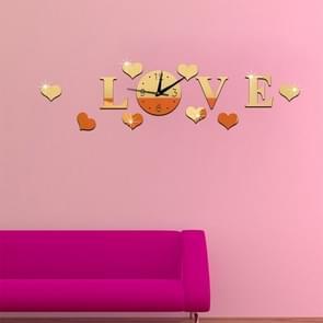 Creatieve liefde klok acryl Mirror DIY Wall Sticker(Gold)