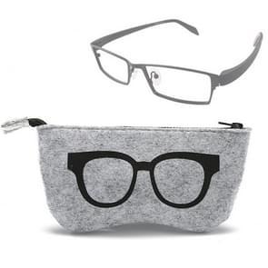 Glasses Pattern Felt Protective Zipper Case for Sunglasses / Glasses (Black)