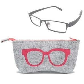 Glasses Pattern Felt Protective Zipper Case for Sunglasses / Glasses (Pink)