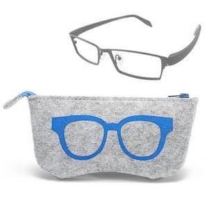 Glasses Pattern Felt Protective Zipper Case for Sunglasses / Glasses (Blue)