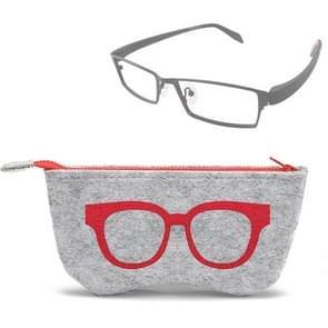 Glasses Pattern Felt Protective Zipper Case for Sunglasses / Glasses (Red)