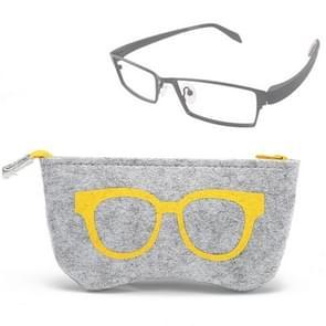 Glasses Pattern Felt Protective Zipper Case for Sunglasses / Glasses (Yellow)