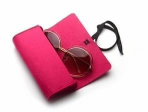 Beschermende rits hoes voelde voor zonnebril / bril (Magenta)