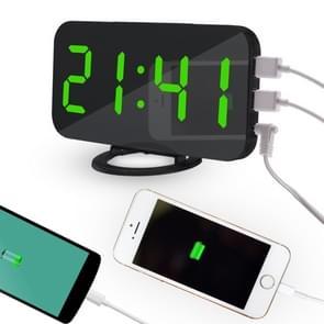 Multifunctionele Creative Mirror Reflecterende LED Display Wekker met Snooze Functie & 2 USB Charge Port(Groen)