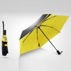 3-Folding 6-Bone Ultralight Black Vinyl Ultraviolet-proof Waterproof All-weather Pocket Umbrella (Yellow)