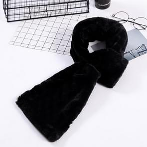 Autumn and Winter New Style Faux Ayase Rabbit Hair Lady Scarf  Thick Warm Easy Matching Cross Solid Color Plush Scarf(Black)