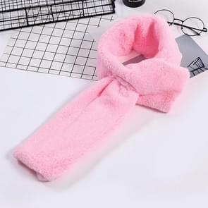 Autumn and Winter New Style Faux Ayase Rabbit Hair Lady Scarf  Thick Warm Easy Matching Cross Solid Color Plush Scarf(Pink)