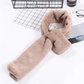 Autumn and Winter New Style Faux Ayase Rabbit Hair Lady Scarf  Thick Warm Easy Matching Cross Solid Color Plush Scarf(Khaki)