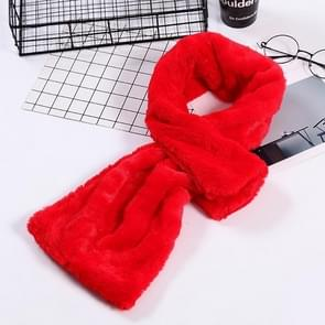 Autumn and Winter New Style Faux Ayase Rabbit Hair Lady Scarf  Thick Warm Easy Matching Cross Solid Color Plush Scarf(Red)