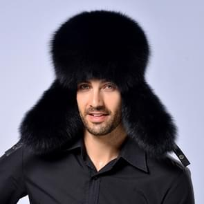 Winter New Style Fox Hair LeiFeng Men Hats  Thick Warm Middle and Old People Ear Protection Winter Fur Hat(Black)