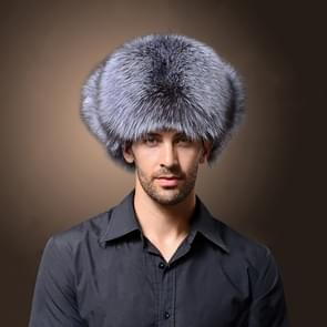 Winter New Style Fox Hair LeiFeng Men Hats  Thick Warm Middle and Old People Ear Protection Winter Fur Hat(Grey)