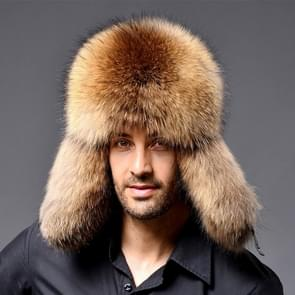 Winter New Style Fox Hair LeiFeng Men Hats  Thick Warm Middle and Old People Ear Protection Winter Fur Hat(Khaki)